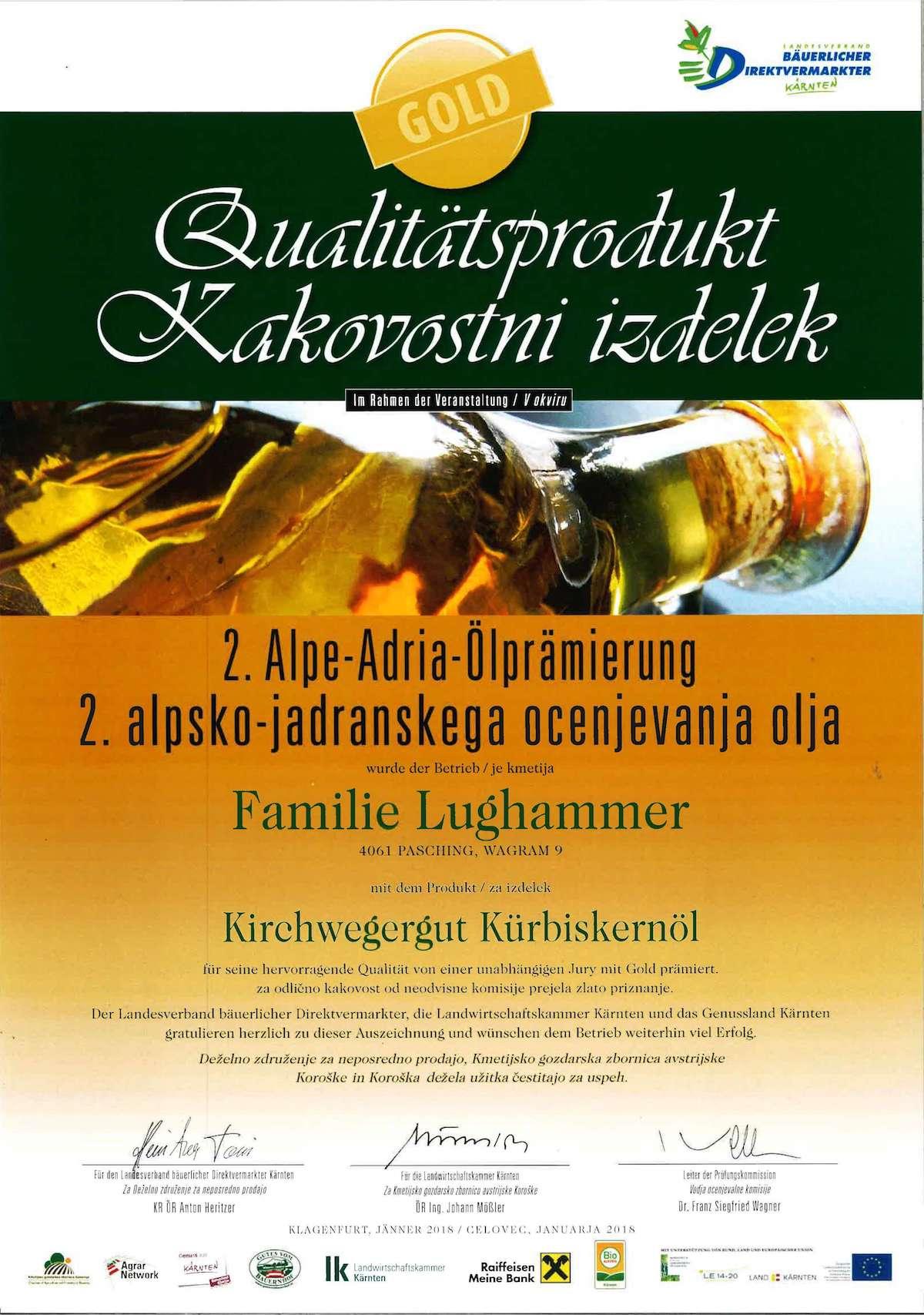 Urkunde Kürbiskernöl Kirchwegergut