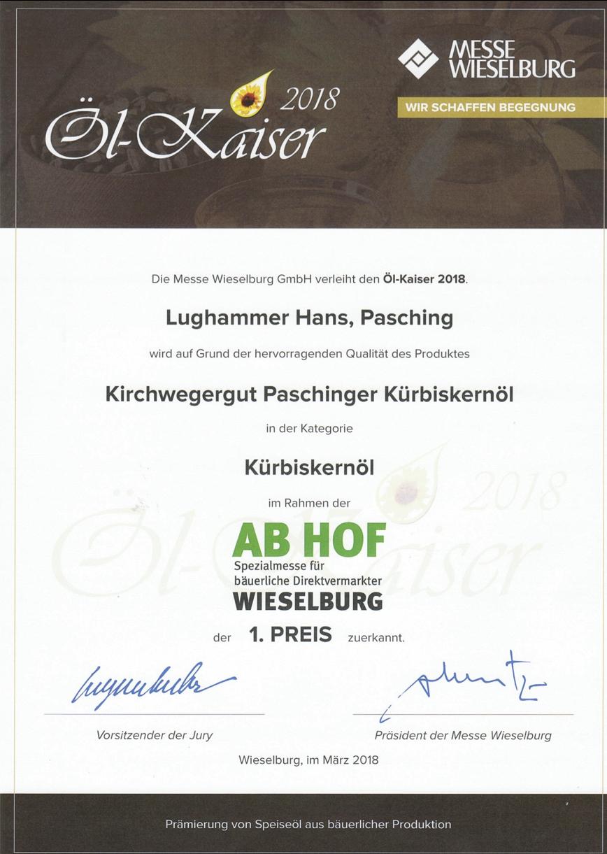 Urkunde Öl-Kaiser Wieselburg 2018